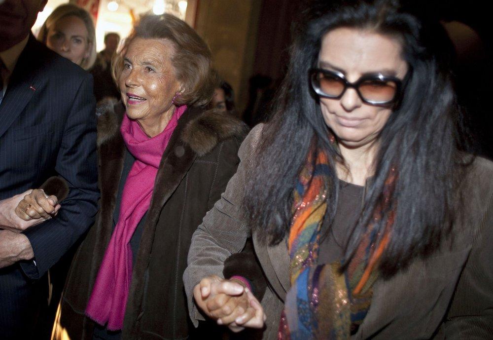 Liliane Bettencourt and her daughter Bettencourt-Meyers at Paris Fashion Week 2011