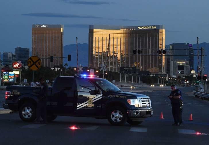 Police Patrol Cars Around the Perimeter After the Shooting Incident