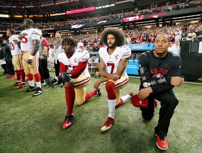 San Francisco Quarterback Colin Kaepernick Knelt During National Anthem in one of his Atlanta Games Last Year